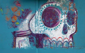 Обои роспись, череп, хэллоуин, рисунок, Мексика, Оахака
