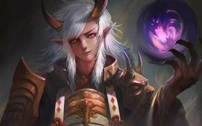 Картинка взгляд, фентези, магия, демон, арт, рога, Onmyouji