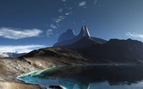 Обои озеро, скалы, панорама, Горы