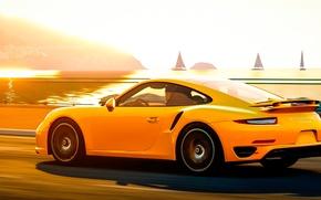 Картинка дорога, свет, пейзаж, Порше, Porsche 911, Turbo S