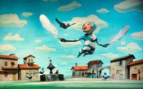 Картинка человек, перья, голуби, windows 7, seven