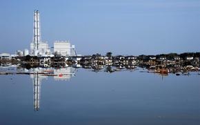Обои отражение, цунами, обломки, дома, руины, наводнение, вода, япония