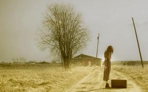 Картинка дорога, девушка, настроение, чемодан