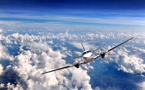 Обои небо, облака, самолёт, взлёт, двигатели, airplane, Over clouds