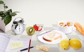 Картинка ручка, утро, киви, молоко, будильник, тарелка, хлеб, крекеры, завтрак, клубника, стол, ежедневник, чашка, цветок, тост, ...