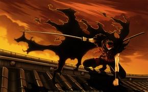 Картинка крыша, дом, оружие, катана, аниме, арт, парень, плащ, clamp, tsubasa reservoir chronicle, хроника крыльев, kurogane