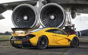 Картинка McLaren, Желтый, Самолет, Машина, Зад, Макларен, Суперкар, Yellow, Аэродром, Supercar, Турбины