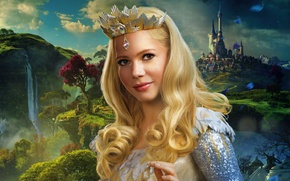 Картинка постер, скалы, Мишель Уильямс, блондинка, водопад, деревья, Michelle Williams, корона, замок, волшебница, Oz the Great ...