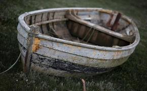 Картинка лодка, старая, боке