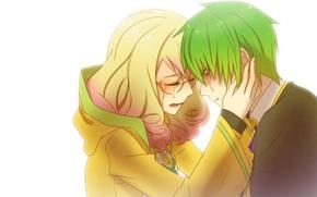 Обои аниме, девушка, парень, слёзы, чувства