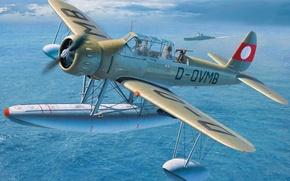 Картинка war, art, airplane, painting, aviation, ww2, Arado Ar 196 B