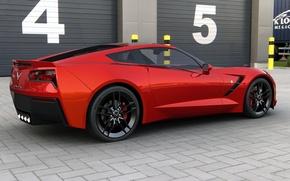 Картинка купе, Chevrolet, арт, США, corvette, Stingray, Спорткар, General Motors, 2014, dangeruss, двухместный заднеприводный спортивный автомобиль