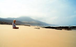 Картинка море, пляж, девушка, настроение