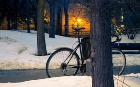 Картинка зима, солнце, снег, деревья, закат, парк, улица, trees, sunset, snow, sun, street, winter park