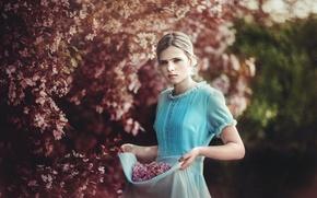 Обои девочка, природа, весна, сад