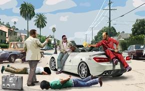 Картинка Майкл, Grand Theft Auto V, GTA 5, Тревор, Франклин, Trevor Phillips, Chop, Franklin Clinton, Michael …