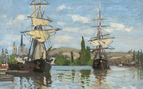 Картинка пейзаж, картина, Клод Моне, Парусные Корабли на Сене в Руане