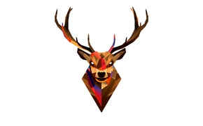 Картинка животные, абстракция, графика, цвет, олень, рога