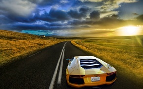 Картинка дорога, поле, небо, солнце, жёлтый, Lamborghini, Ламборджини, блик, yellow, Ламборгини, LP700-4, Aventador, Авентадор, LB834