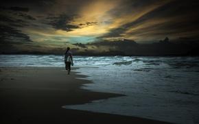 Картинка море, девушка, побережье