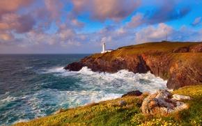 Картинка волны, небо, облака, океан, скалы, берег, маяк