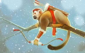 Картинка зима, снег, ветка, лук, обезьяна, стрелы, art