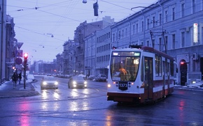 Картинка Вечер, Трамвай, Санкт-Петербург, Садовая улица