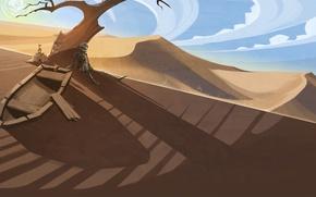 Картинка небо, солнце, облака, дерево, пустыня, лодка, засуха, скелет, sky, desert, clouds, tree, sun, drought, песочный ...