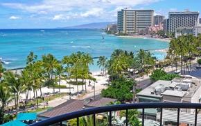 Обои море, пляж, beach, гаваи, hawaii, Honolulu