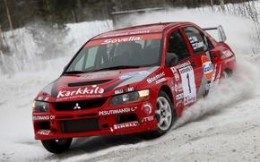 Обои Красный, Снег, Гонка, Mitsubishi, Lancer, Evolution, Rally