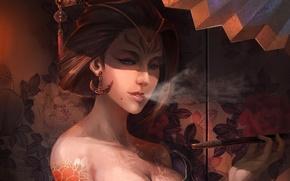 Картинка цветы, ширма, арт, гейша, курит, кимоно, серьги, прическа, дым, узор, девушка, заколка, тату