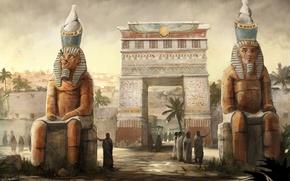 Картинка город, люди, арт, арка, статуи, египет