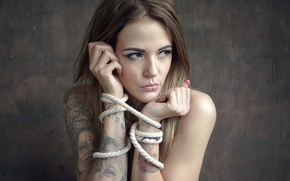 Картинка девушка, тату, верёвки