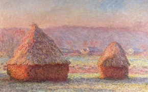 Обои Клод Моне, картина, Стога. Иней. Рассвет, пейзаж