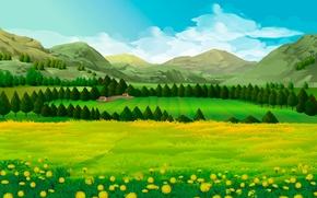 Картинка поле, деревья, пейзаж, горы, луг, одуванчики