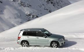 Картинка зима, горы, mercedes-benz, glk220, cdi