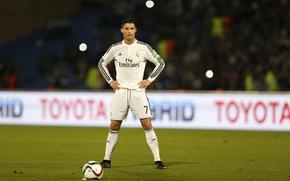 Обои мяч, Футбол, liga bbva, Испания, стойка, штрафной, Португалия, Cristiano Ronaldo, цель, Роналдо, Роналду, футболист