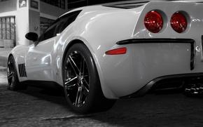 Обои белая, диски, corvette c3retro