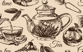 Картинка текстура, texture, tea set, чайник сервиз