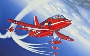 Обои самолет, рисунок, Великобритания, red arrows, учебно-тренировочный, Королевские ВВС, красные стрелы, BAe Hawk Т1