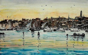 Обои море, картина, лодка, акварель, Максимилиан Дамико, пейзаж, город
