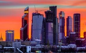 Картинка ночь, Закат, Небо, Зима, Вид, Обои, Москва, Wallpaper, Москва-Сити, Федерация, OKO, Башня 2000, Евразия, Меркурий …
