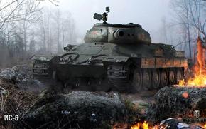 Картинка лес, туман, огонь, искры, танк, тяжелый, советский, World of Tanks, ИС-6