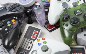 Обои plastic, retro, buttons, controls consoles, different companies