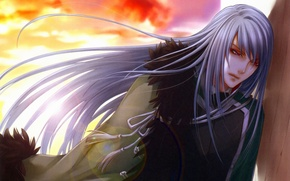 Картинка грусть, небо, закат, красные глаза, длинные волосы, накидка, военная форма, visual novel, will o`wisp, ignis, …