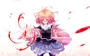 Картинка девушка, кровь, аниме, арт, очки, mokoppe, kyoukai no kanata, kuriyama mirai