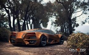 Обои Car, Lada, by Dmitry Lazarev, Raven, Gold, 2014, Rear, Concept