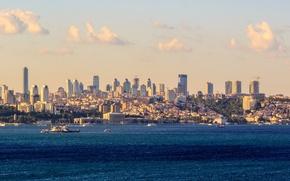 Картинка море, город, skyline, Istanbul, Босфор, Bosphorus, Истанбул