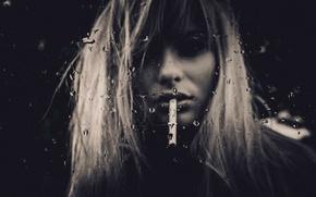 Картинка девушка, капли, портрет, сигарета