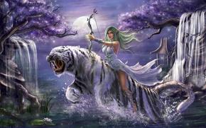 Картинка девушка, деревья, ночь, тигр, прыжок, лук, водопады, эльфийка, WarCraft, Tyrande Whisperwind